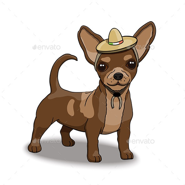 Chihuahua Smiling Cartoon Character Wearing Sombrero - Animals Characters
