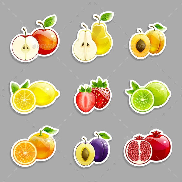 Set of Labels from Bright Fruits - Flourishes / Swirls Decorative
