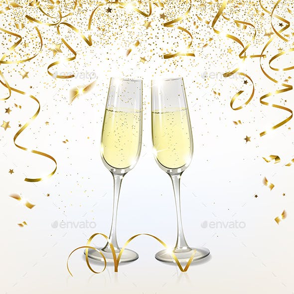 Glasses with Champagne and Golden Confetti