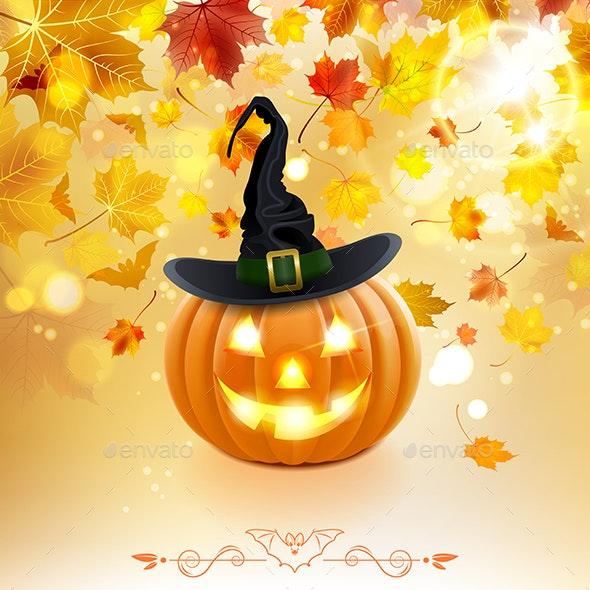 Halloween Pumpkin on Autumn Background - Halloween Seasons/Holidays