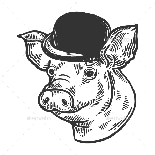 Pig Animal in Bowler Hat Engraving Vector - Man-made Objects Objects