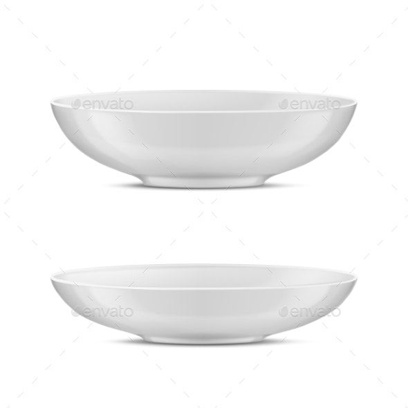 Vector Realistic Porcelain Tureens White - Man-made Objects Objects