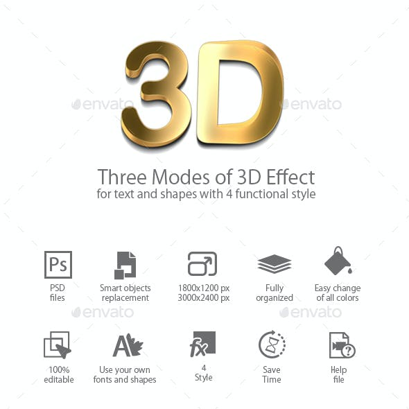 Three Modes of 3D Effect of text & Shapes