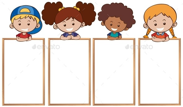 Happy Kids and Blank Whiteboards - People Characters