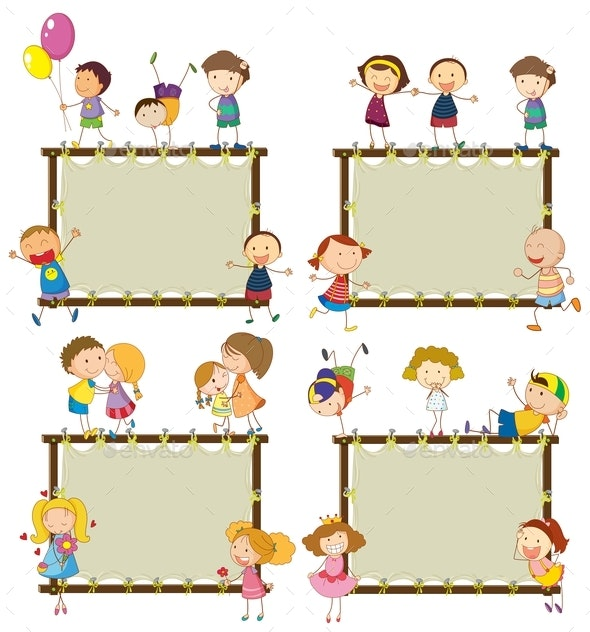 Four Frame Designs With Happy Children - People Characters
