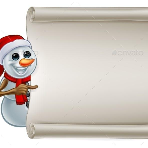 Snowman in Santa Hat Christmas Sign