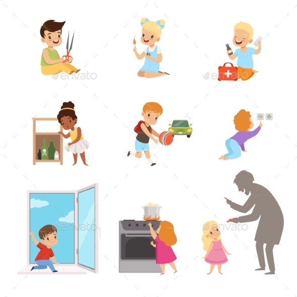 Kids in a Dangerous Situations Set - People Characters