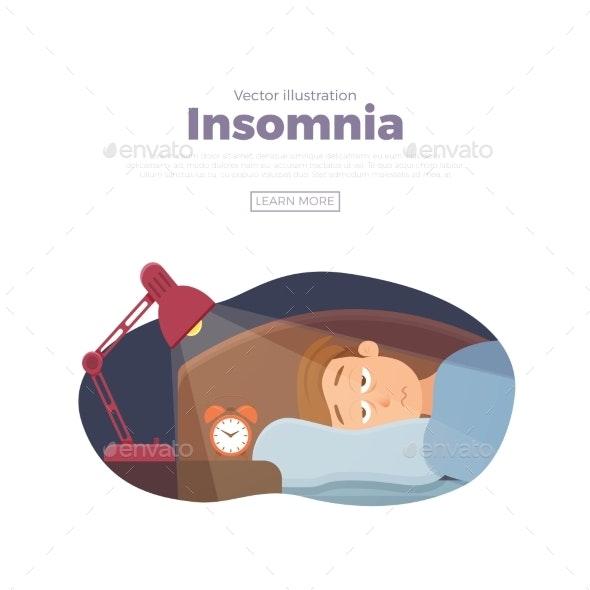 Sleepless Man Face Cartoon Character Suffers - People Characters