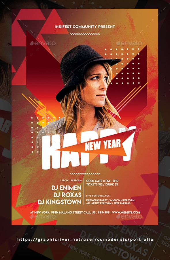 Dj New Year Flyer - Clubs & Parties Events