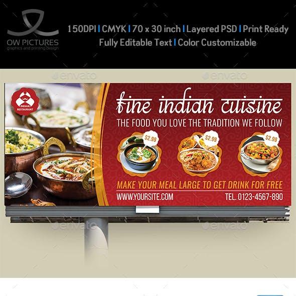 Indian Restaurant Billboard Template Vol.2