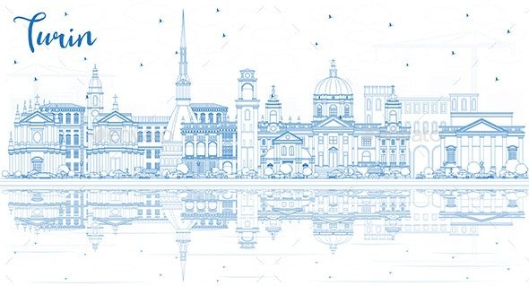 Outline Turin Italy City Skyline with Blue Buildings - Buildings Objects