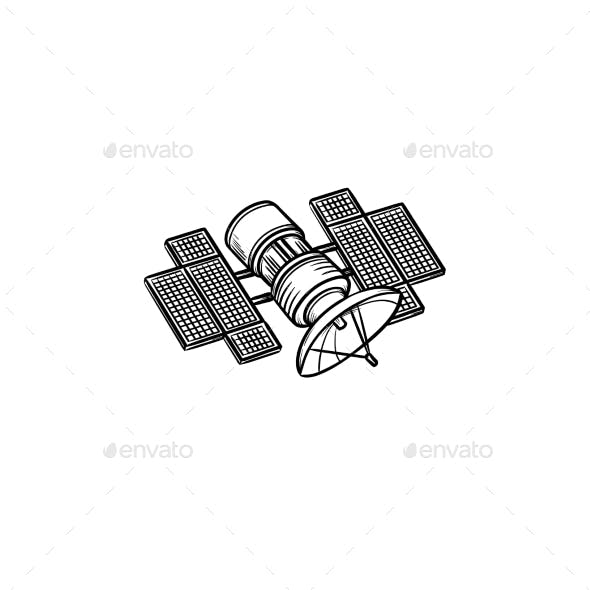 Satellite Hand Drawn Outline Doodle Icon