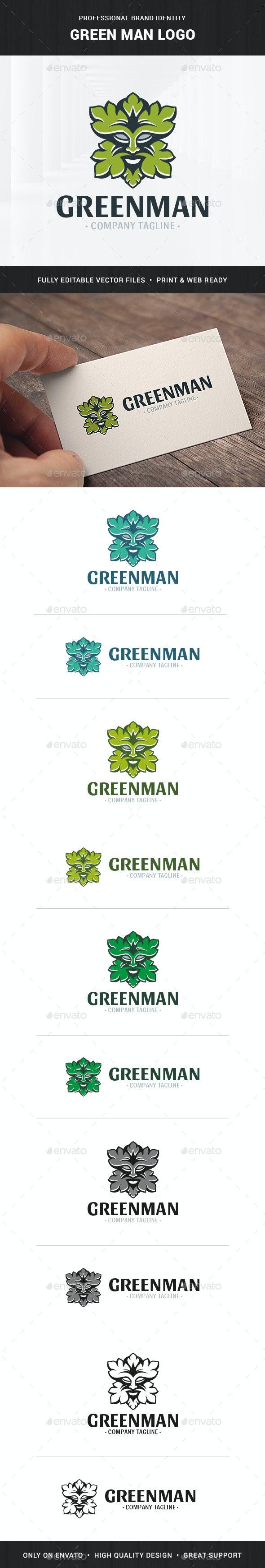 Green Man Logo Template - Nature Logo Templates