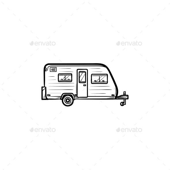 Camper Hand Drawn Outline Doodle Icon - Man-made Objects Objects
