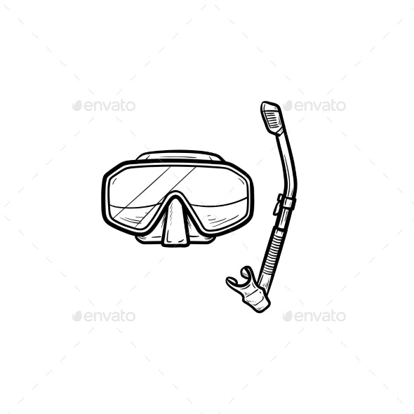 Diving Mask with Snorkel Hand Drawn Outline Doodle - Man-made Objects Objects