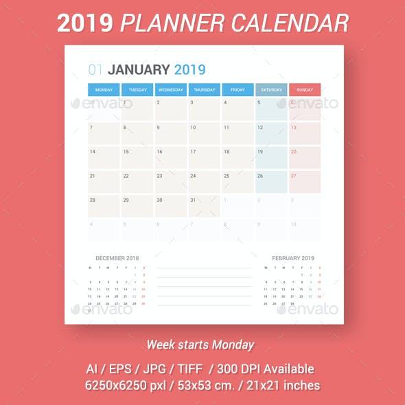 Calendar 2019 Planner Design. Week Starts Monday.
