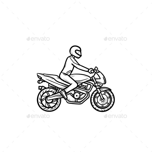 Motocross Rider Hand Drawn Outline Doodle Icon - Sports/Activity Conceptual