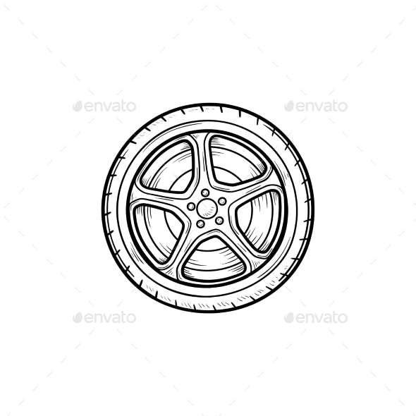 Car Wheel Hand Drawn Outline Doodle Icon - Man-made Objects Objects
