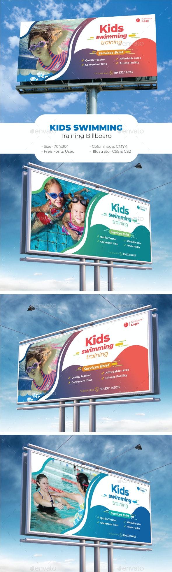 Kids Swimming Training Billboard - Signage Print Templates