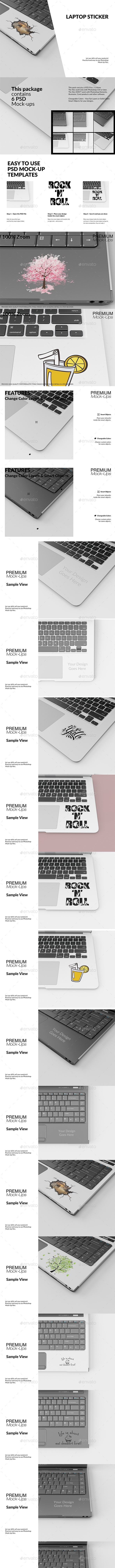 Laptop Sticker Mockup Set - Print Product Mock-Ups