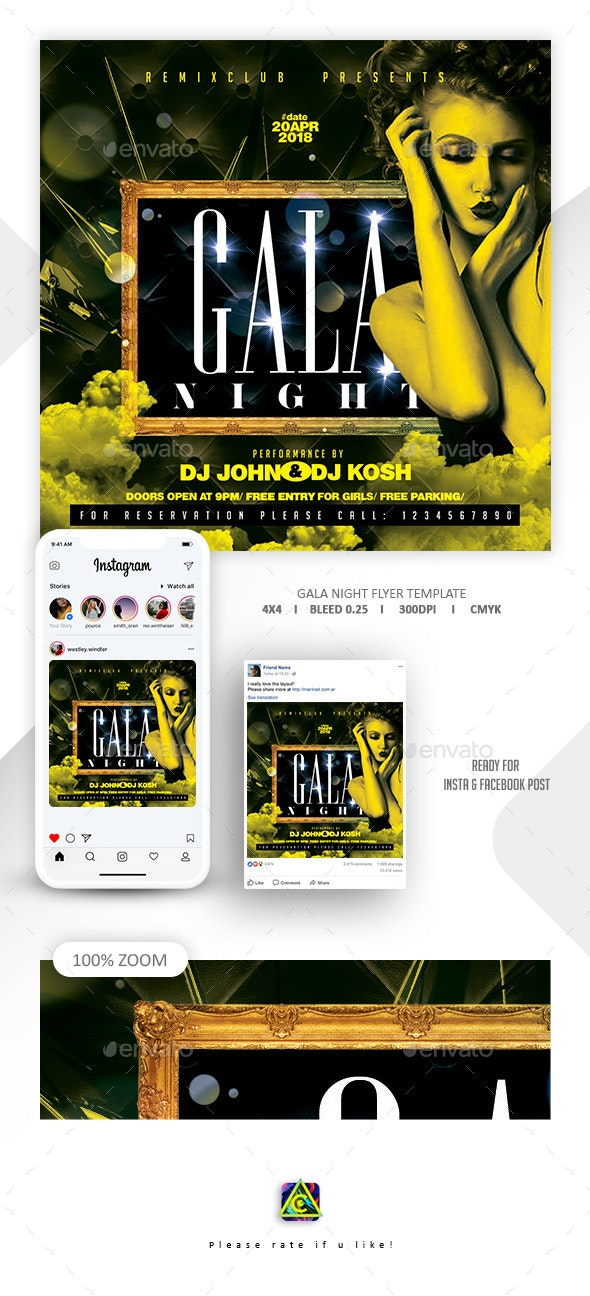 Gala Night Flyer Template - Clubs & Parties Events