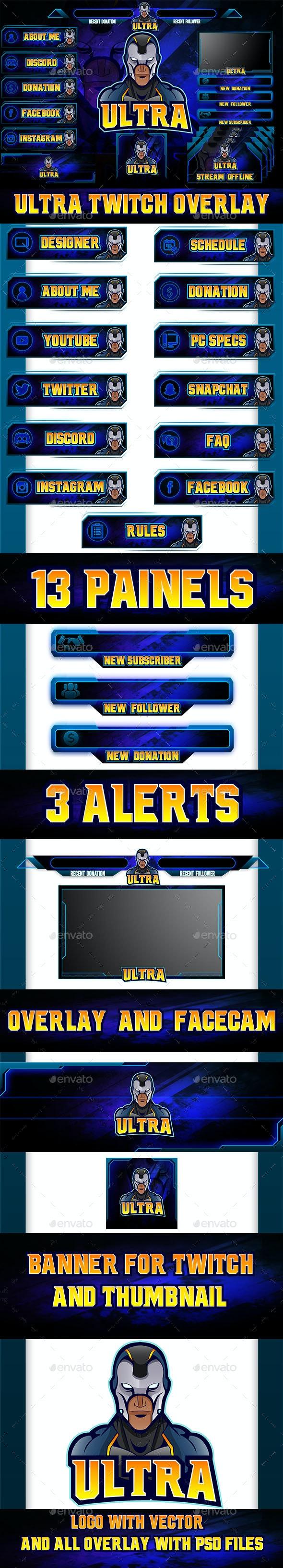 Ultra Twitch Overlay Mascot Logo - Website Displays