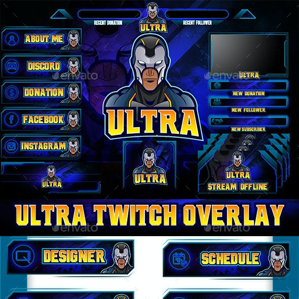 Ultra Twitch Overlay Mascot Logo
