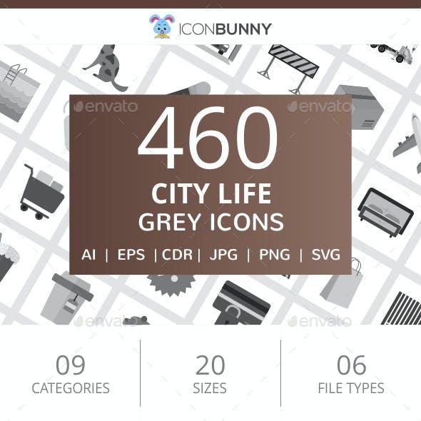 460 City Life Flat Greyscale Icons