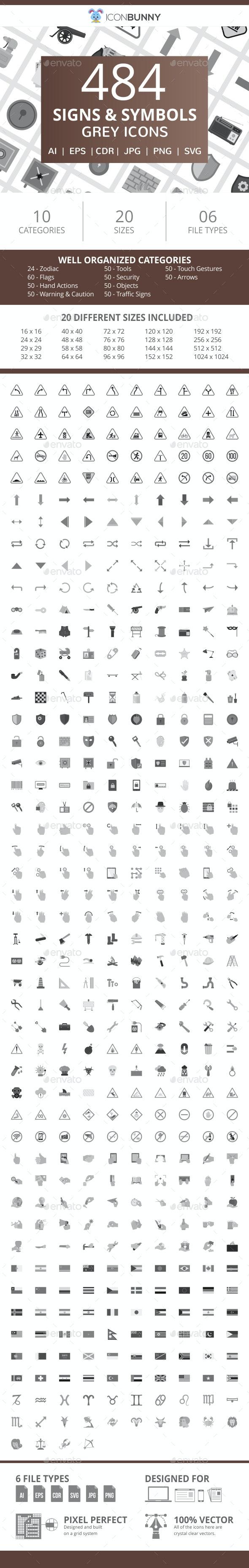 484 Signs & Symbols Flat Greyscale Icons - Icons