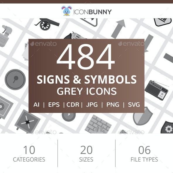 484 Signs & Symbols Flat Greyscale Icons