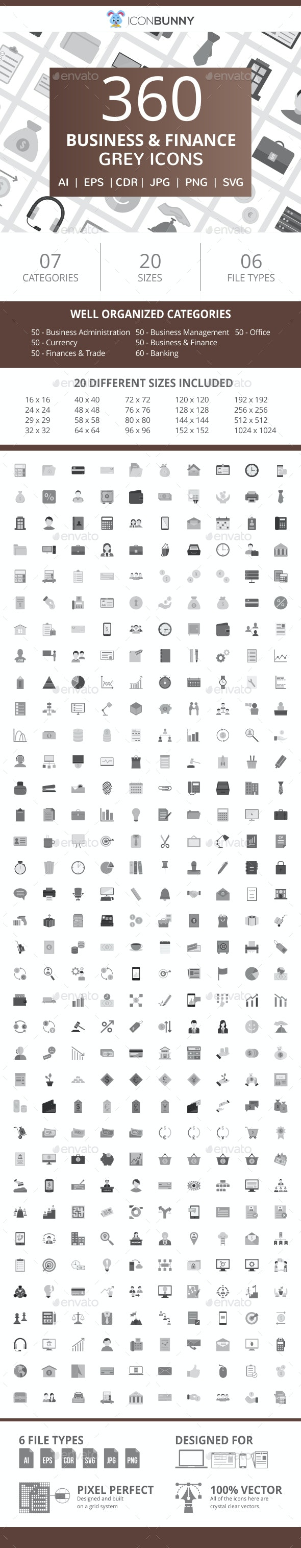 360 Business & Finance Flat Greyscale Icons - Icons