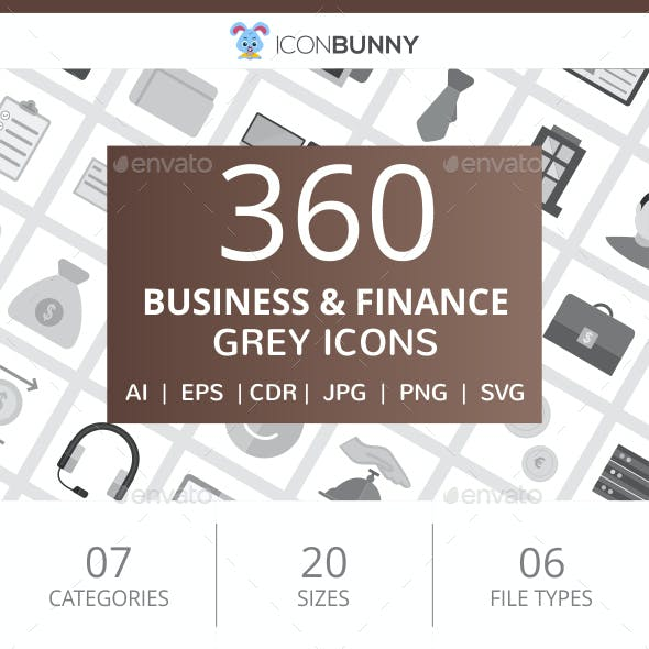 360 Business & Finance Flat Greyscale Icons