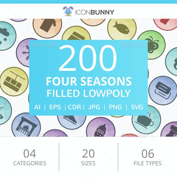 200 Four Seasons Filled Low Poly Icons
