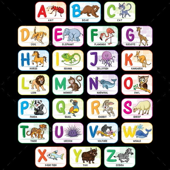 Animal Alphabet A to Z - Animals Characters