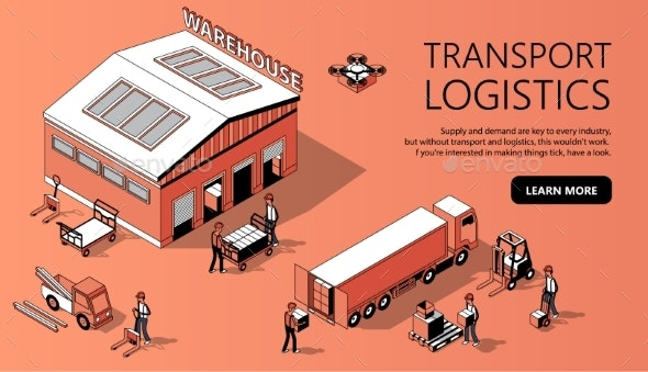 Vector Isometric Site Template - Transport - Concepts Business