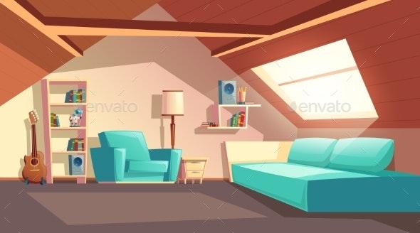 Vector Cartoon Empty Garret Room Attic Interior - Backgrounds Decorative