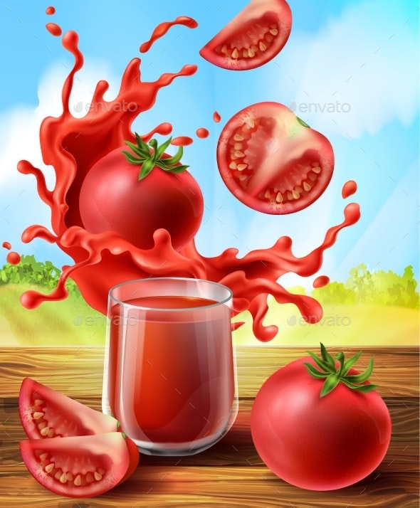 Vector Tomato Juice in Glass - Food Objects
