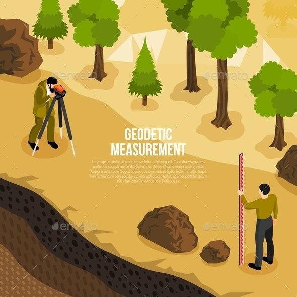 Geologist Work Isometric Composition - People Characters