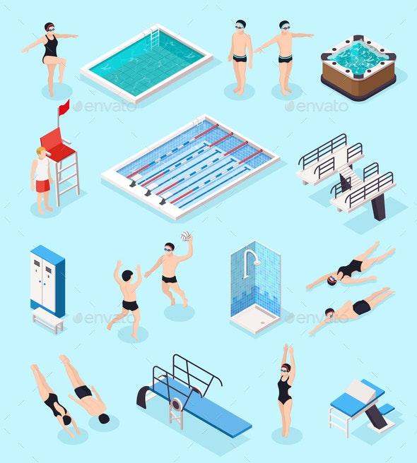 Swimming Pool Isometric Set - People Characters