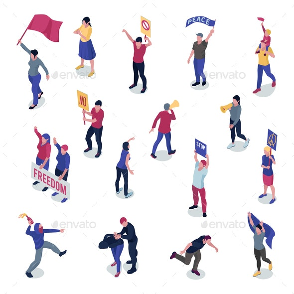 Protesting People Isometric Set - People Characters