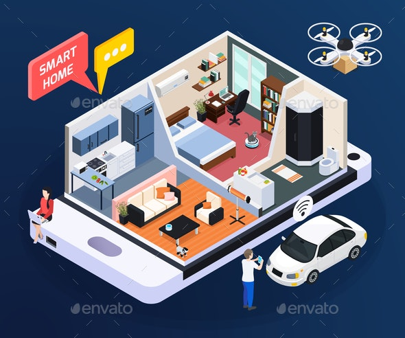 Smart Home Concept Illustration - Man-made Objects Objects