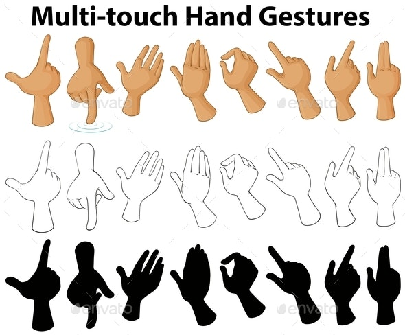 Chart Showing Multi-touch Hand Gestures - Miscellaneous Conceptual