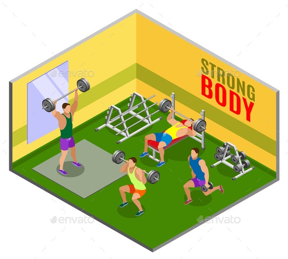 Body Building Workout Isometric Composition - People Characters