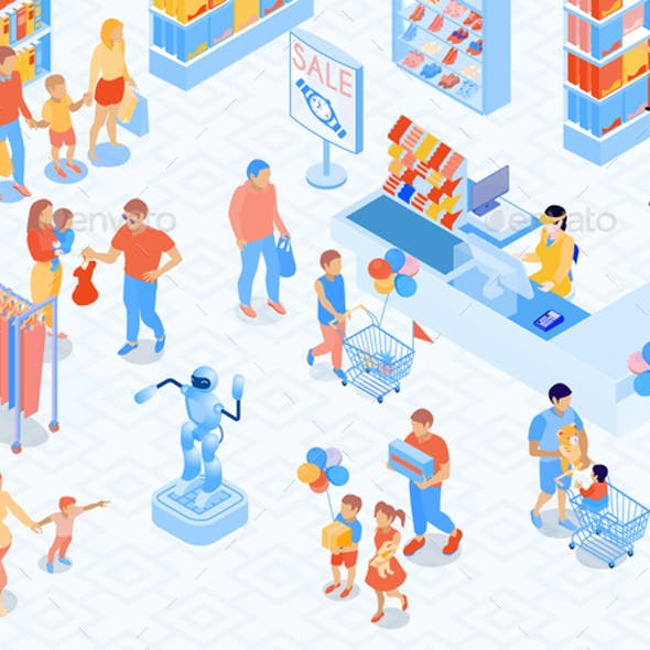 Family Shopping Isometric Illustration
