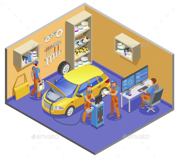 Auto Service Isometric Composition - Services Commercial / Shopping