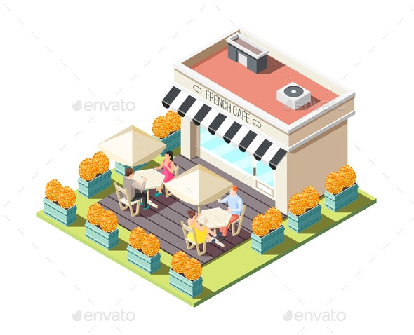 Street Coffee Isometric Composition - Buildings Objects