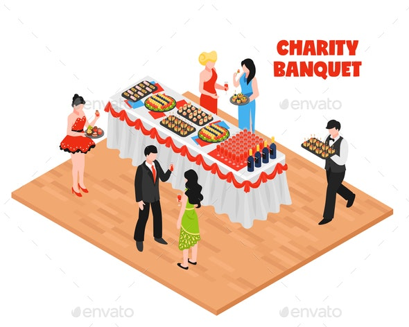 Isometric Charity Banquet Background - Food Objects