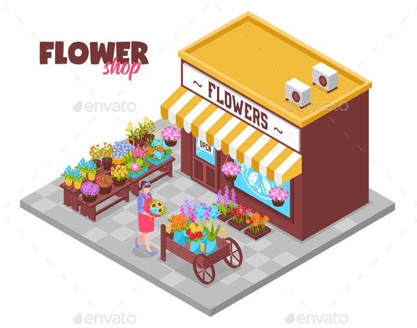 Isometric Flower Kiosk Background - Miscellaneous Vectors