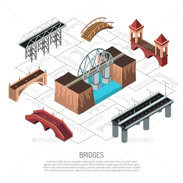 Isometric Bridges Flowchart - Buildings Objects