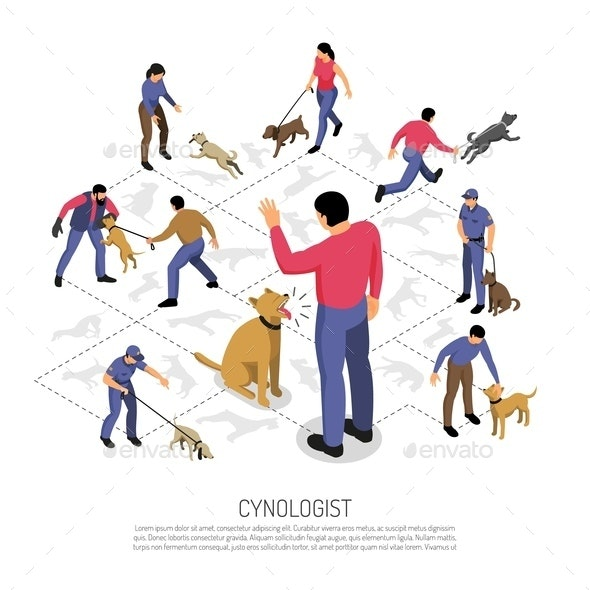 Cynologist Isometric Infographic Composition - Animals Characters